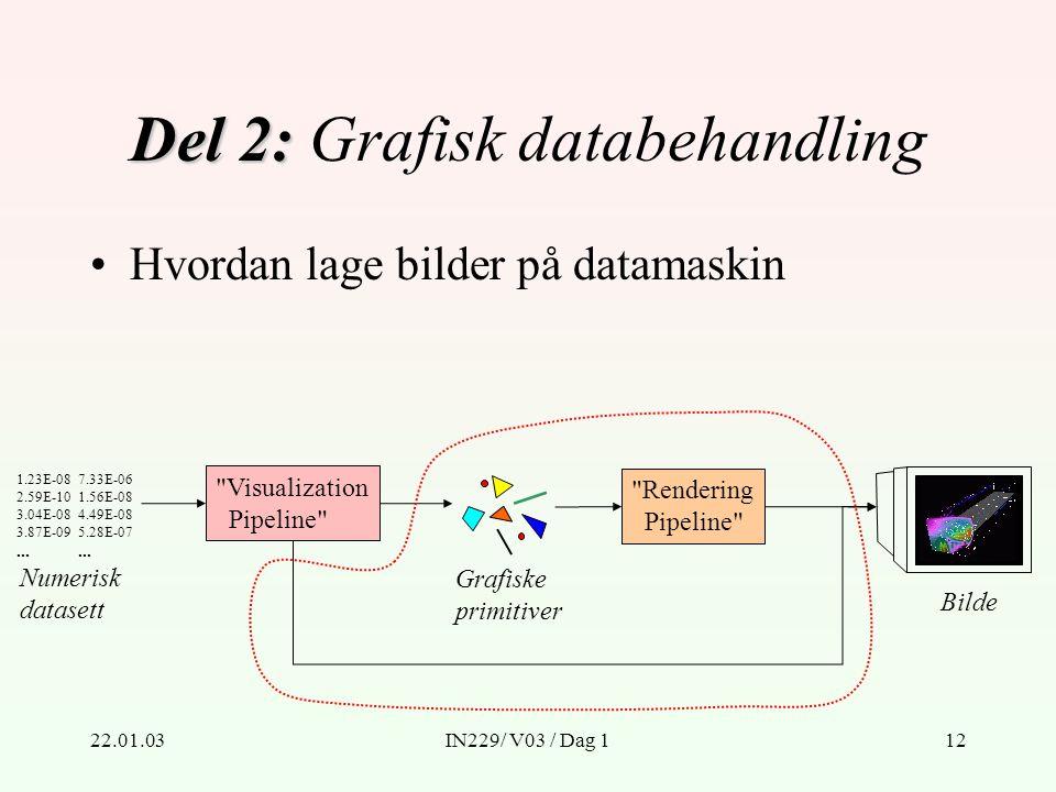22.01.03IN229/ V03 / Dag 112 Del 2: Del 2: Grafisk databehandling Numerisk datasett 1.23E-08 2.59E-10 3.04E-08 3.87E-09...