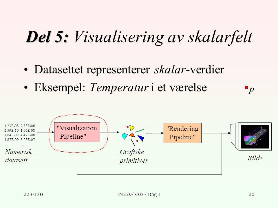 22.01.03IN229/ V03 / Dag 120 Del 5: Del 5: Visualisering av skalarfelt Numerisk datasett 1.23E-08 2.59E-10 3.04E-08 3.87E-09...