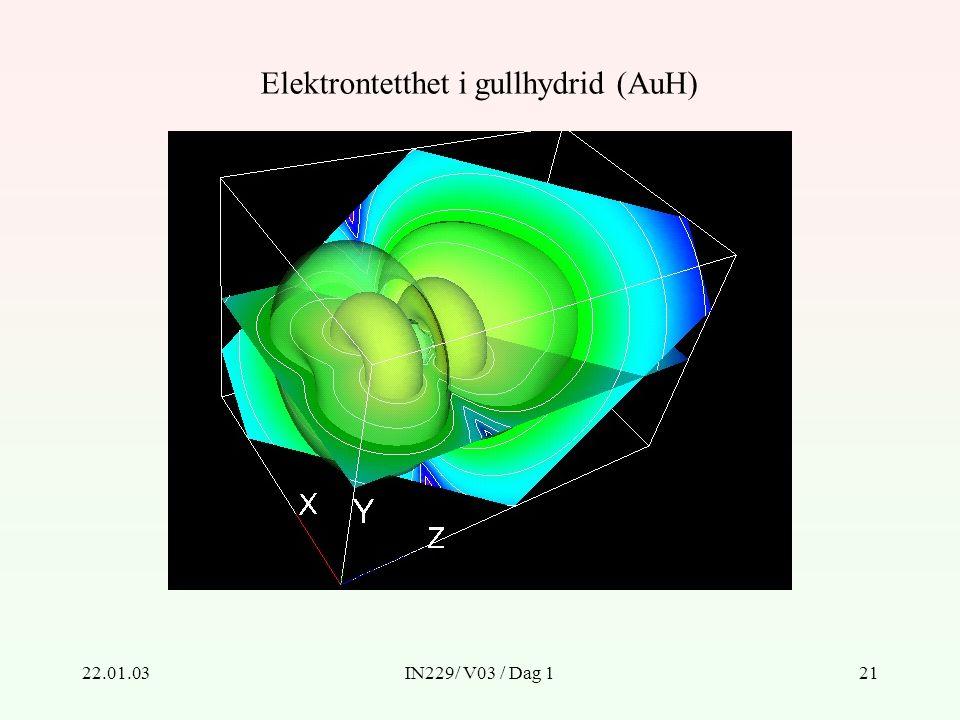 22.01.03IN229/ V03 / Dag 121 Elektrontetthet i gullhydrid (AuH)