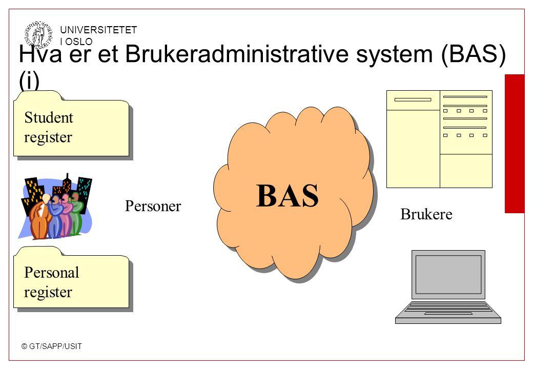 © GT/SAPP/USIT UNIVERSITETET I OSLO Hva er et Brukeradministrative system (BAS) (i) Student register Student register Personal register BAS Personer Brukere