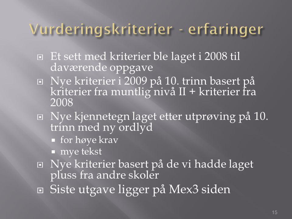  Et sett med kriterier ble laget i 2008 til daværende oppgave  Nye kriterier i 2009 på 10. trinn basert på kriterier fra muntlig nivå II + kriterier