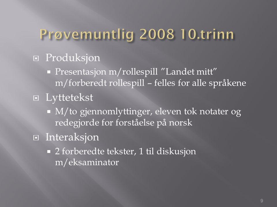 """ Produksjon  Presentasjon m/rollespill """"Landet mitt"""" m/forberedt rollespill – felles for alle språkene  Lyttetekst  M/to gjennomlyttinger, eleven"""