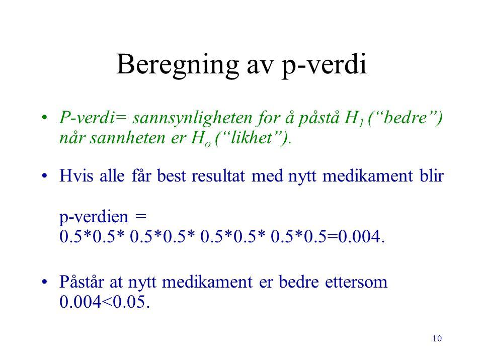 10 Beregning av p-verdi P-verdi= sannsynligheten for å påstå H 1 ( bedre ) når sannheten er H o ( likhet ).
