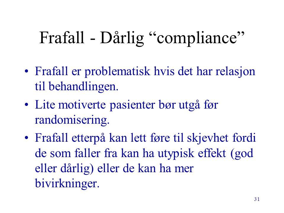 31 Frafall - Dårlig compliance Frafall er problematisk hvis det har relasjon til behandlingen.