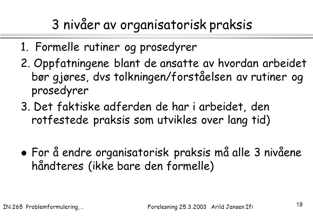 IN 265 Problemformulering,.. Forelesning 25.3.2003 Arild Jansen Ifi 19 3 nivåer av organisatorisk praksis 1. Formelle rutiner og prosedyrer 2. Oppfatn