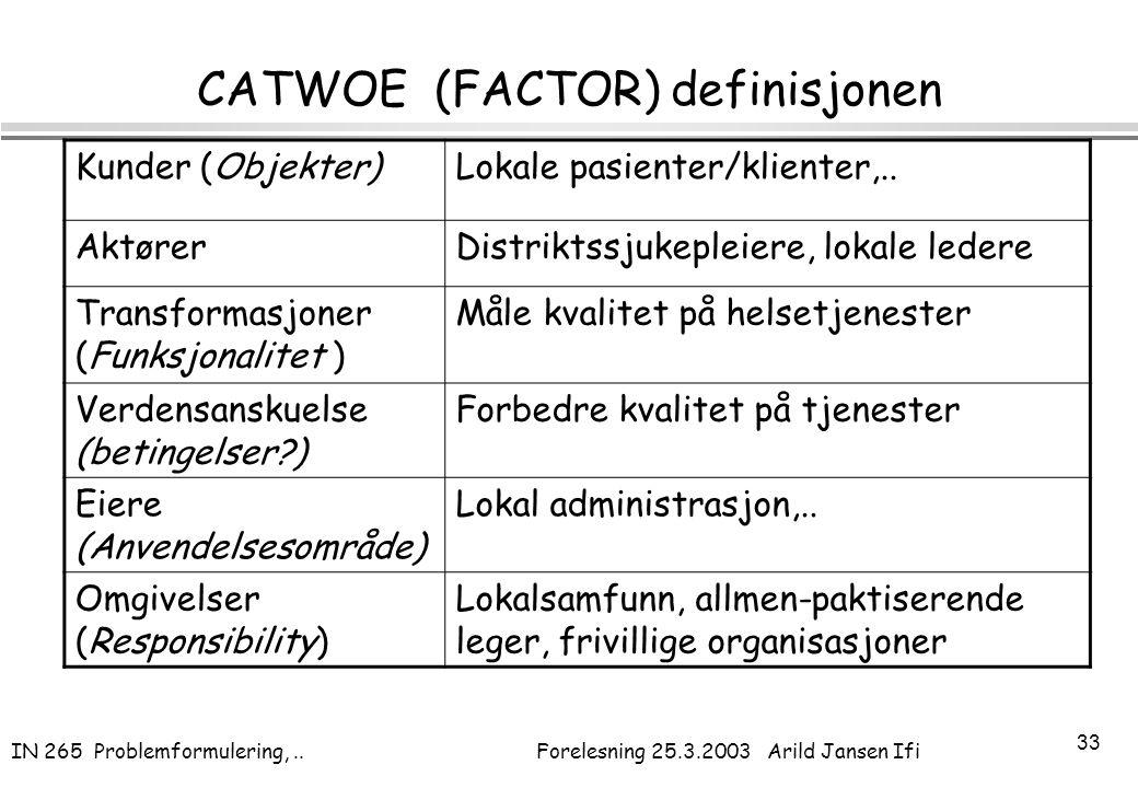 IN 265 Problemformulering,.. Forelesning 25.3.2003 Arild Jansen Ifi 33 CATWOE (FACTOR) definisjonen Kunder (Objekter)Lokale pasienter/klienter,.. Aktø