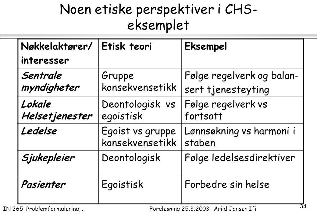 IN 265 Problemformulering,.. Forelesning 25.3.2003 Arild Jansen Ifi 34 Noen etiske perspektiver i CHS- eksemplet Nøkkelaktører/ interesser Etisk teori