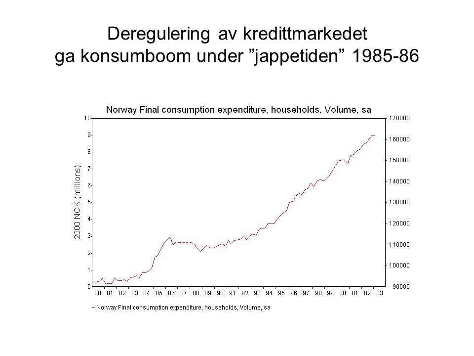 """Deregulering av kredittmarkedet ga konsumboom under """"jappetiden"""" 1985-86"""