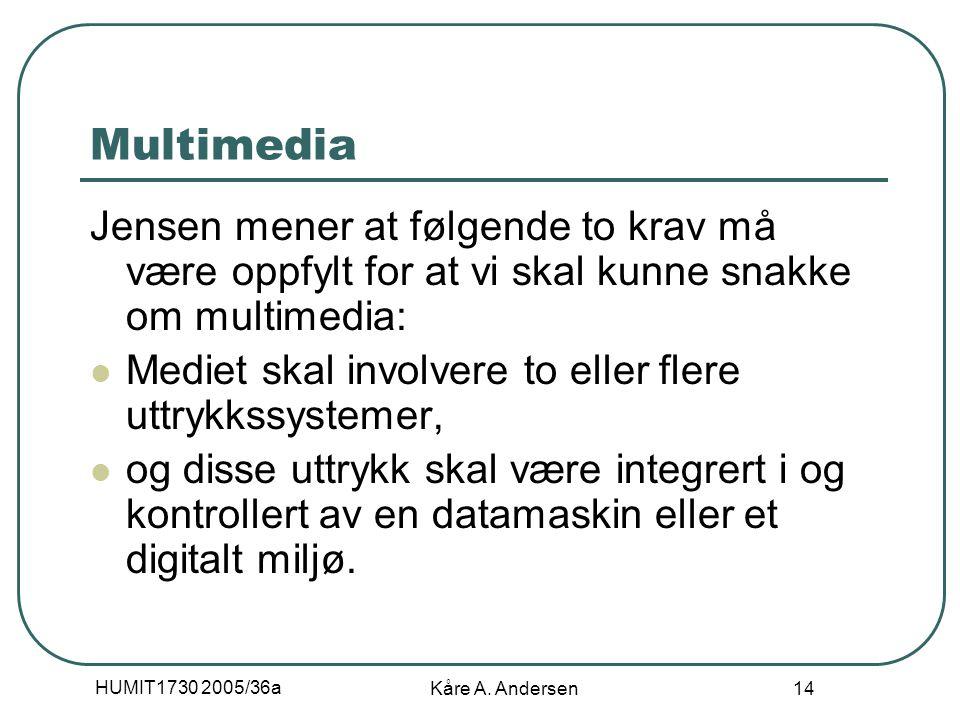 HUMIT1730 2005/36a Kåre A. Andersen 14 Multimedia Jensen mener at følgende to krav må være oppfylt for at vi skal kunne snakke om multimedia: Mediet s