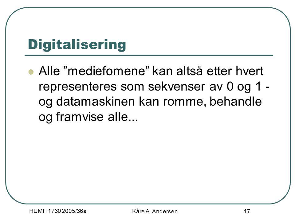 """HUMIT1730 2005/36a Kåre A. Andersen 17 Digitalisering Alle """"mediefomene"""" kan altså etter hvert representeres som sekvenser av 0 og 1 - og datamaskinen"""