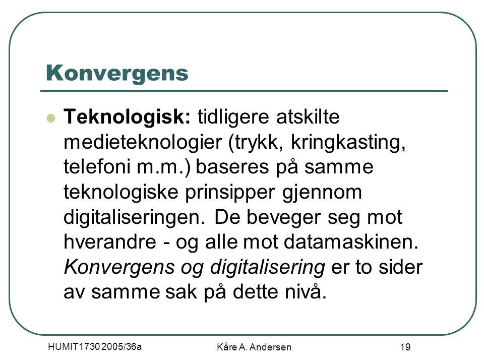 HUMIT1730 2005/36a Kåre A. Andersen 19 Konvergens Teknologisk: tidligere atskilte medieteknologier (trykk, kringkasting, telefoni m.m.) baseres på sam