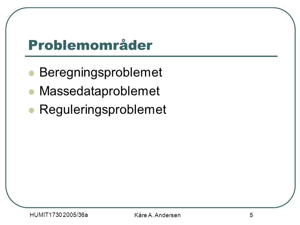 HUMIT1730 2005/36a Kåre A. Andersen 5 Problemområder Beregningsproblemet Massedataproblemet Reguleringsproblemet