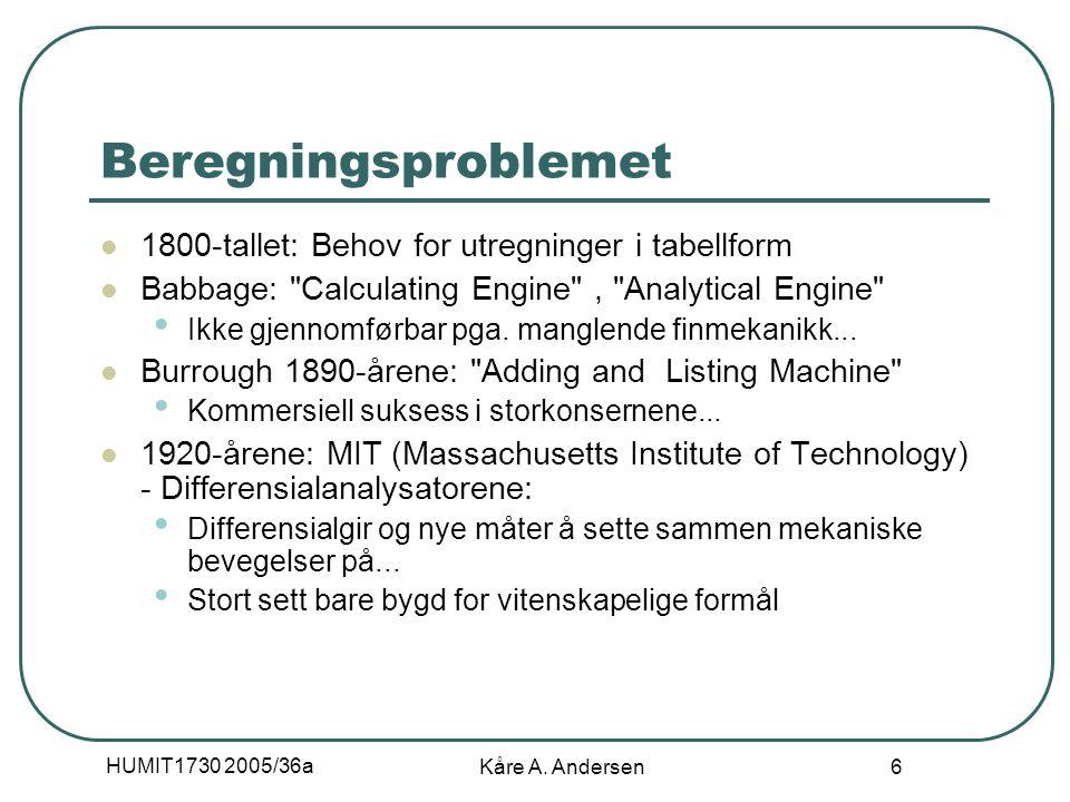 HUMIT1730 2005/36a Kåre A. Andersen 6 Beregningsproblemet 1800-tallet: Behov for utregninger i tabellform Babbage: