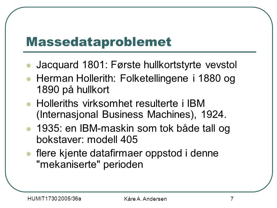 HUMIT1730 2005/36a Kåre A. Andersen 7 Massedataproblemet Jacquard 1801: Første hullkortstyrte vevstol Herman Hollerith: Folketellingene i 1880 og 1890