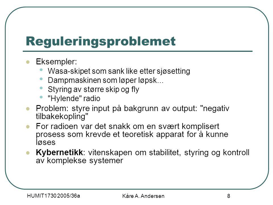 HUMIT1730 2005/36a Kåre A. Andersen 8 Reguleringsproblemet Eksempler: Wasa-skipet som sank like etter sjøsetting Dampmaskinen som løper løpsk... Styri