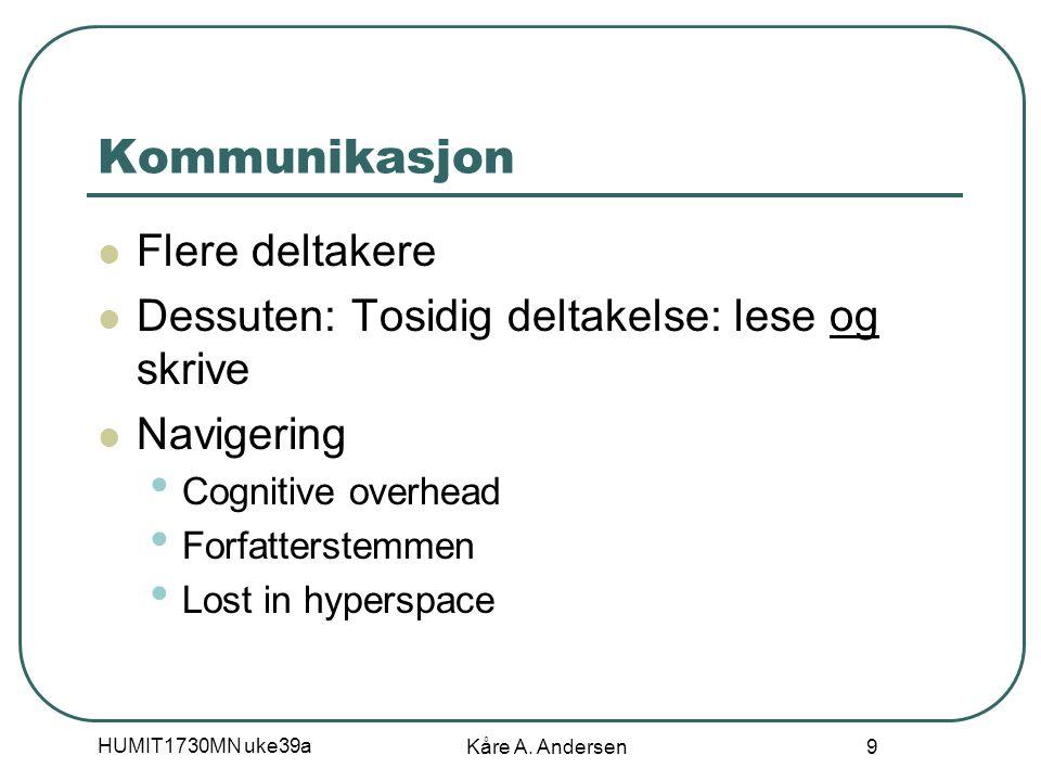 HUMIT1730MN uke39a Kåre A. Andersen 10 Hypertekst 1 Hypertekst: Sammenkobling av tekstdeler