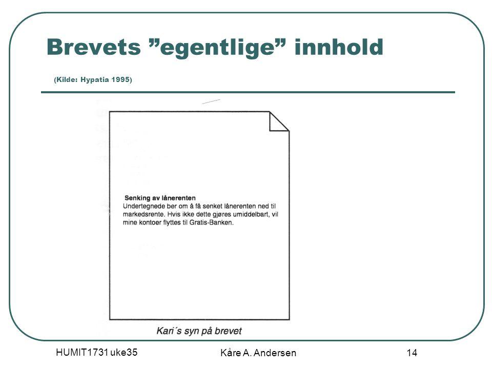"HUMIT1731 uke35 Kåre A. Andersen 14 Brevets ""egentlige"" innhold (Kilde: Hypatia 1995)"