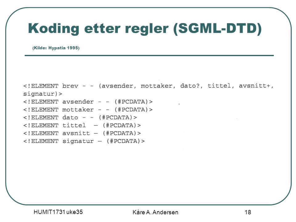 HUMIT1731 uke35 Kåre A. Andersen 18 Koding etter regler (SGML-DTD) (Kilde: Hypatia 1995)