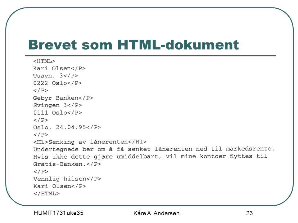 HUMIT1731 uke35 Kåre A. Andersen 23 Brevet som HTML-dokument