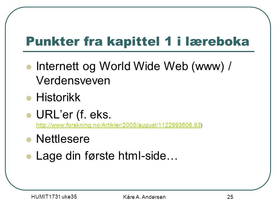 HUMIT1731 uke35 Kåre A. Andersen 25 Punkter fra kapittel 1 i læreboka Internett og World Wide Web (www) / Verdensveven Historikk URL'er (f. eks. http: