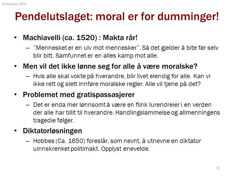 """© Ariansen 2010 Pendelutslaget: moral er for dumminger! Machiavelli (ca. 1520) : Makta rår! – """"Mennesket er en ulv mot mennesker"""". Så det gjelder å bi"""