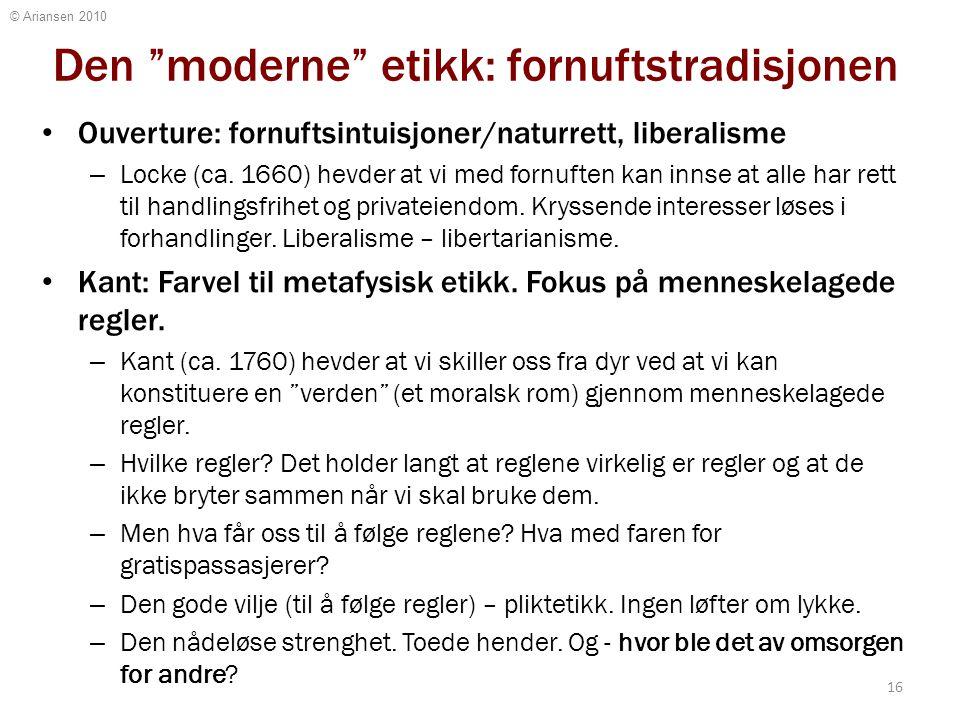 """© Ariansen 2010 Den """"moderne"""" etikk: fornuftstradisjonen Ouverture: fornuftsintuisjoner/naturrett, liberalisme – Locke (ca. 1660) hevder at vi med for"""