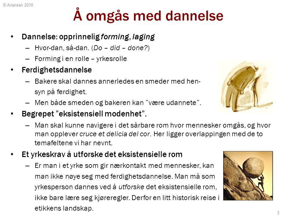 © Ariansen 2010 Å omgås med dannelse Dannelse: opprinnelig forming, laging – Hvor-dan, så-dan. (Do – did – done?) – Forming i en rolle – yrkesrolle Fe