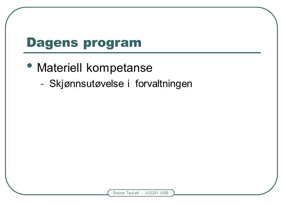 Steinar Taubøll - JUS201 UMB Dagens program Materiell kompetanse -Skjønnsutøvelse i forvaltningen