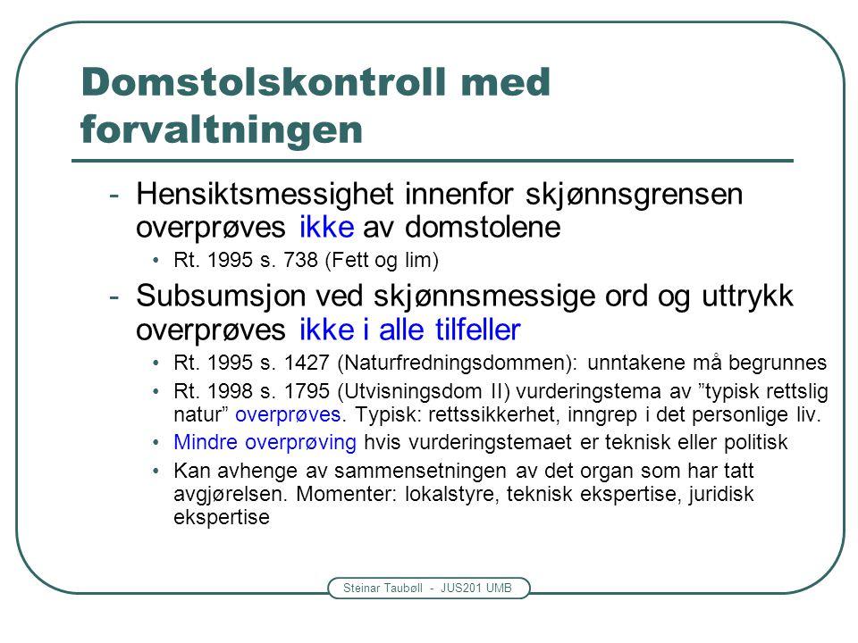 Steinar Taubøll - JUS201 UMB Domstolskontroll med forvaltningen -Hensiktsmessighet innenfor skjønnsgrensen overprøves ikke av domstolene Rt. 1995 s. 7