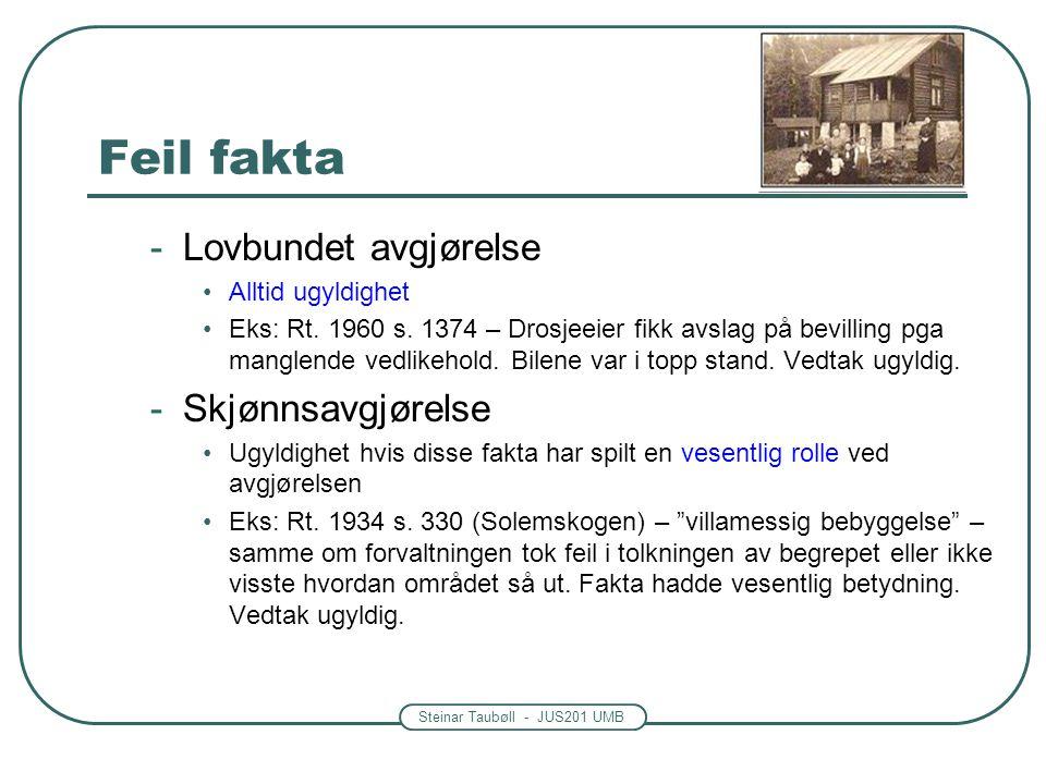 Steinar Taubøll - JUS201 UMB Feil fakta -Lovbundet avgjørelse Alltid ugyldighet Eks: Rt. 1960 s. 1374 – Drosjeeier fikk avslag på bevilling pga mangle