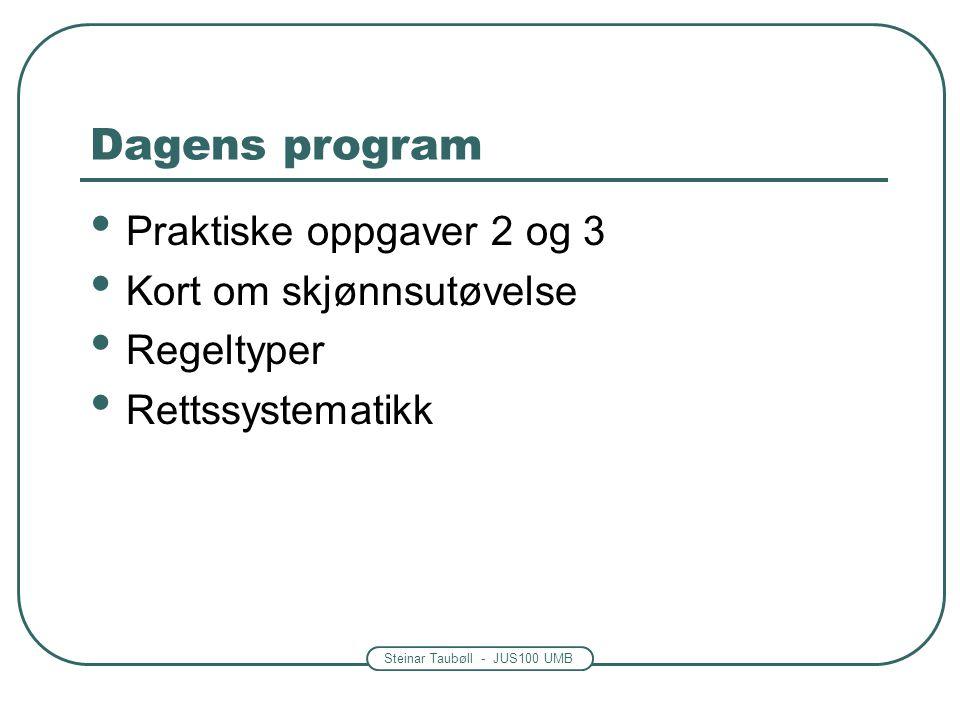 Steinar Taubøll - JUS100 UMB Dagens program Praktiske oppgaver 2 og 3 Kort om skjønnsutøvelse Regeltyper Rettssystematikk