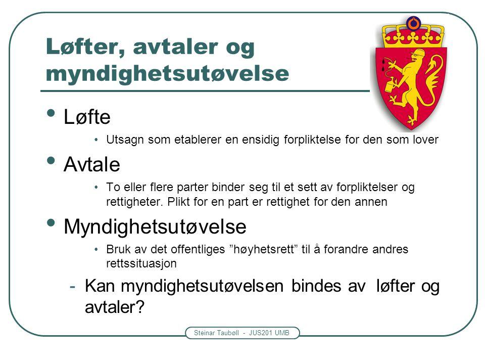 Steinar Taubøll - JUS201 UMB Løfter, avtaler og myndighetsutøvelse Løfte Utsagn som etablerer en ensidig forpliktelse for den som lover Avtale To eller flere parter binder seg til et sett av forpliktelser og rettigheter.