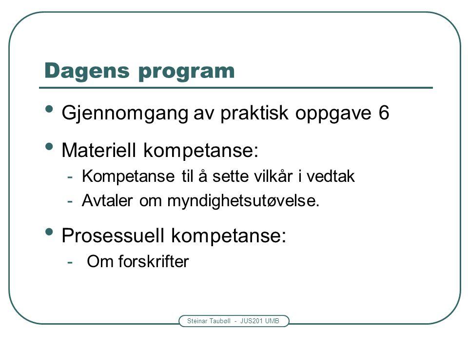 Steinar Taubøll - JUS201 UMB Dagens program Gjennomgang av praktisk oppgave 6 Materiell kompetanse: -Kompetanse til å sette vilkår i vedtak -Avtaler om myndighetsutøvelse.