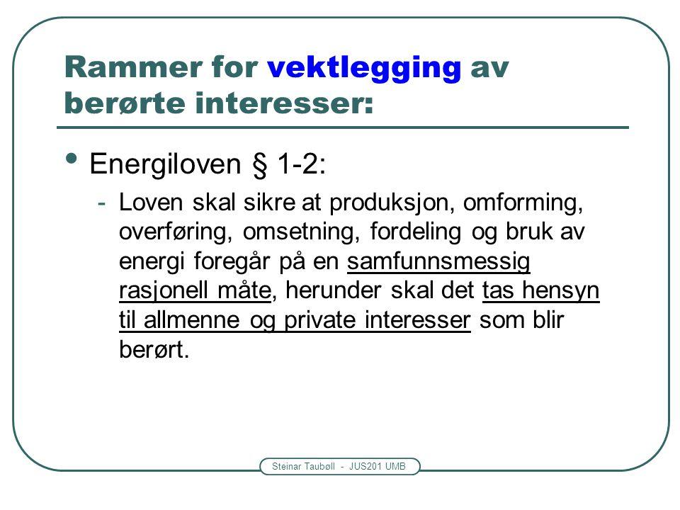 Steinar Taubøll - JUS201 UMB Rammer for vektlegging av berørte interesser: Energiloven § 1-2: -Loven skal sikre at produksjon, omforming, overføring, omsetning, fordeling og bruk av energi foregår på en samfunnsmessig rasjonell måte, herunder skal det tas hensyn til allmenne og private interesser som blir berørt.