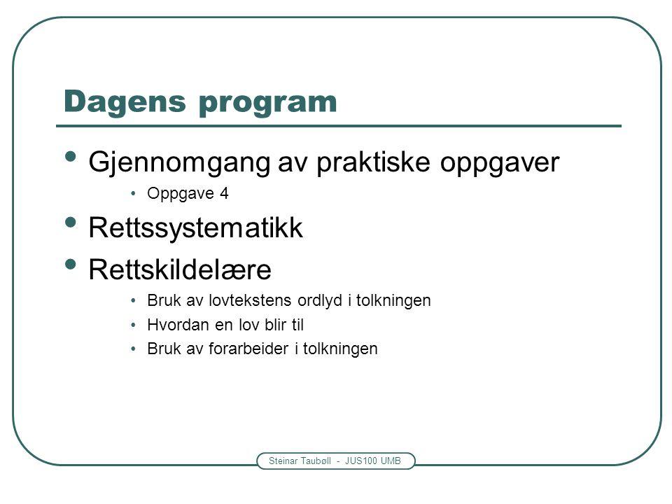 Steinar Taubøll - JUS100 UMB Dagens program Gjennomgang av praktiske oppgaver Oppgave 4 Rettssystematikk Rettskildelære Bruk av lovtekstens ordlyd i tolkningen Hvordan en lov blir til Bruk av forarbeider i tolkningen