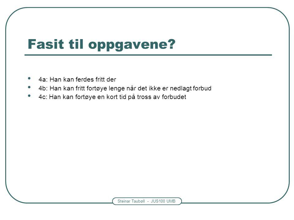 Steinar Taubøll - JUS100 UMB Fasit til oppgavene.