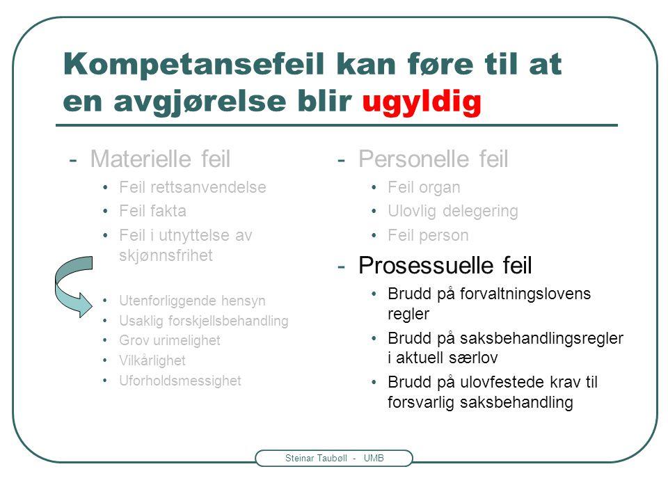 Steinar Taubøll - UMB Kompetanse og gyldighet Forvaltningens avgjørelser er gyldige når: -Det er riktig organ og person som har fattet vedtaket Person
