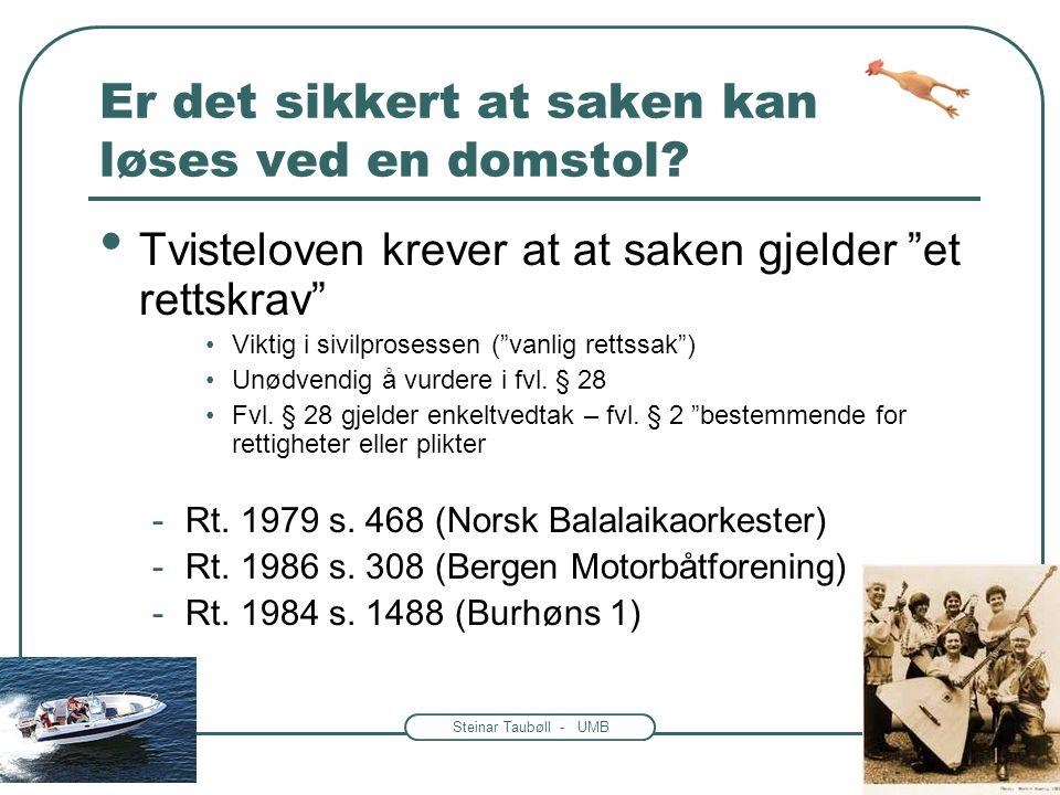 Steinar Taubøll - UMB Rettslig interesse for organisasjoner -Ulovfestede regler skapt av rettspraksis -Betydelig utvidet de seneste tiårene Rt.