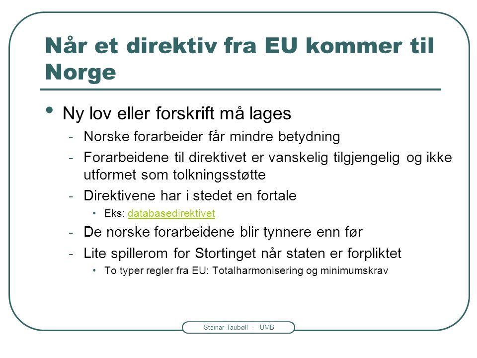Steinar Taubøll - UMB Når et direktiv fra EU kommer til Norge Ny lov eller forskrift må lages -Norske forarbeider får mindre betydning -Forarbeidene t