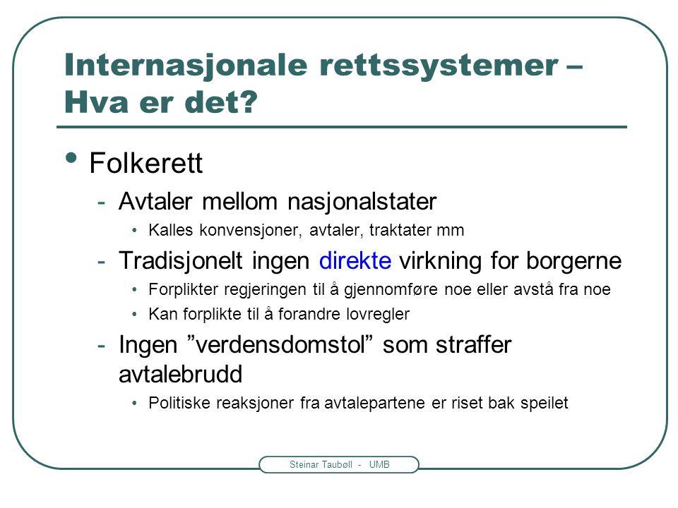 Steinar Taubøll - UMB Internasjonale rettssystemer – Hva er det? Folkerett -Avtaler mellom nasjonalstater Kalles konvensjoner, avtaler, traktater mm -