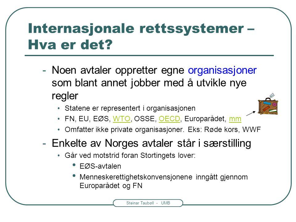 Steinar Taubøll - UMB Internasjonale rettssystemer – Hva er det? -Noen avtaler oppretter egne organisasjoner som blant annet jobber med å utvikle nye