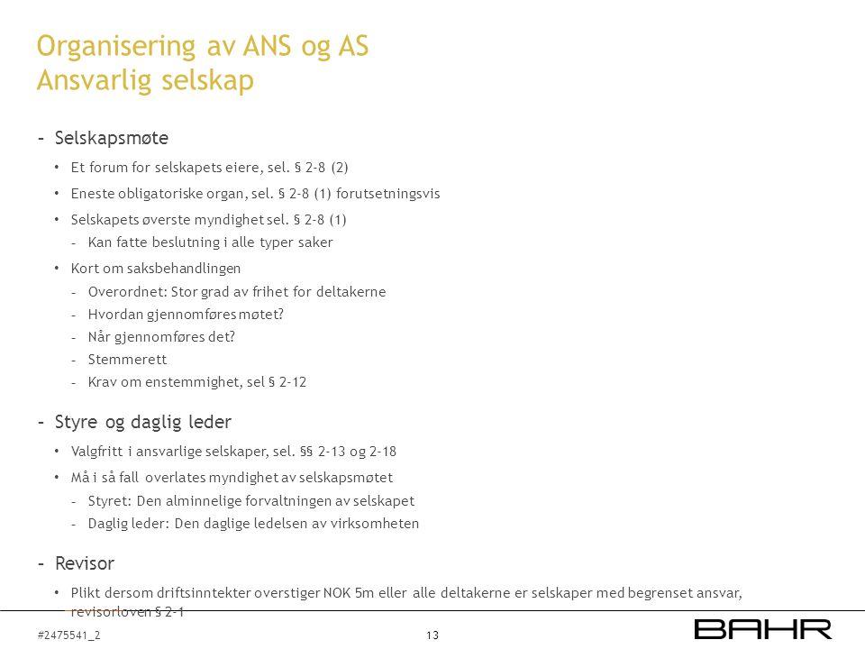 #2475541_2 Organisering av ANS og AS Ansvarlig selskap - Selskapsmøte Et forum for selskapets eiere, sel. § 2-8 (2) Eneste obligatoriske organ, sel.