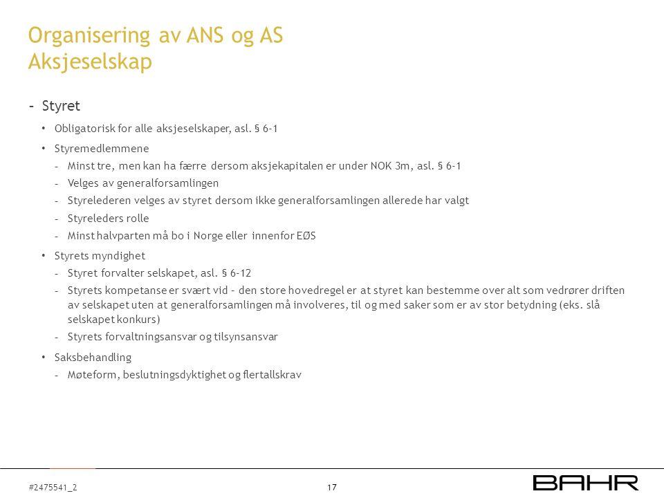 #2475541_2 Organisering av ANS og AS Aksjeselskap - Styret Obligatorisk for alle aksjeselskaper, asl.