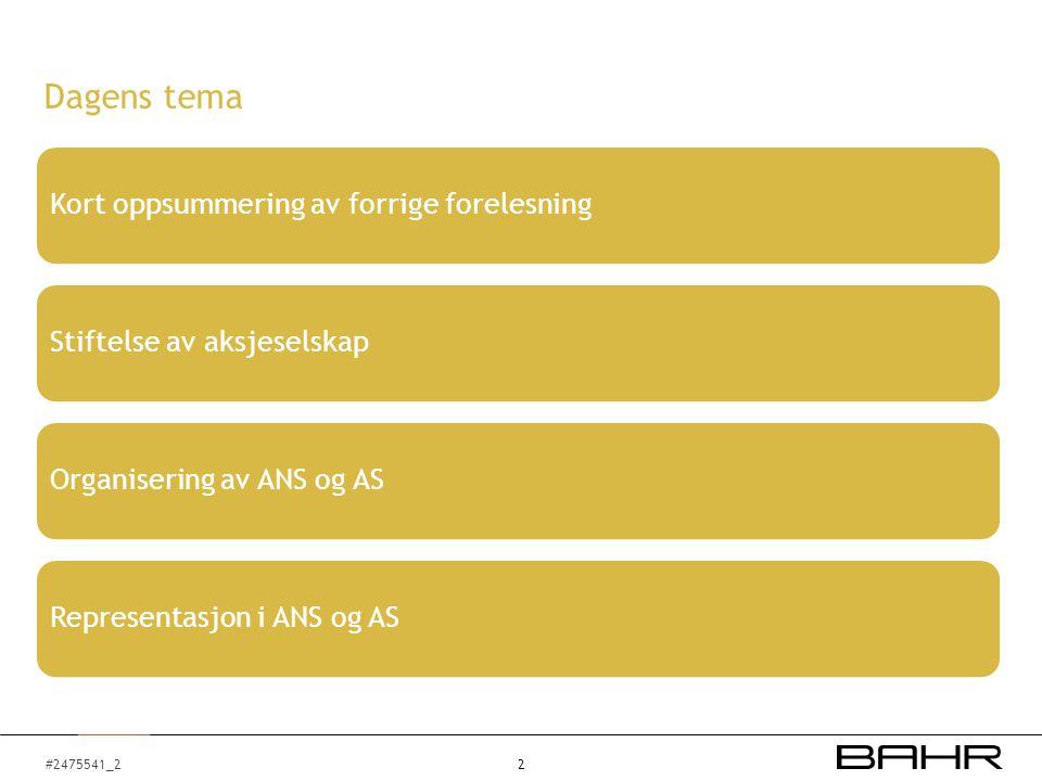 #2475541_2 Dagens tema Kort oppsummering av forrige forelesningStiftelse av aksjeselskapOrganisering av ANS og ASRepresentasjon i ANS og AS 2