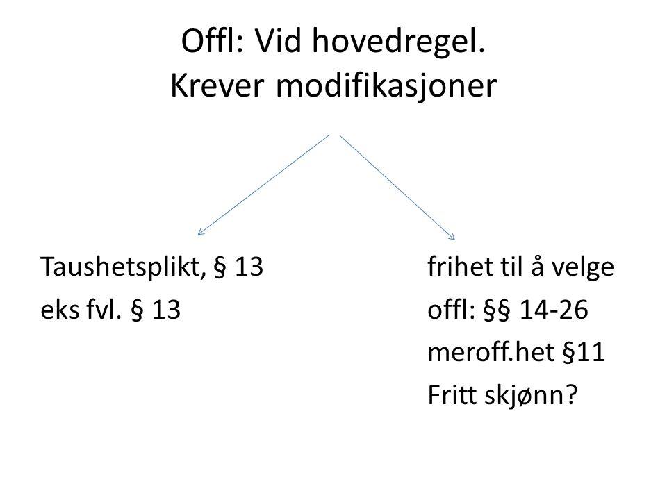 Offl: Vid hovedregel. Krever modifikasjoner Taushetsplikt, § 13 frihet til å velge eks fvl. § 13 offl: §§ 14-26 meroff.het §11 Fritt skjønn?