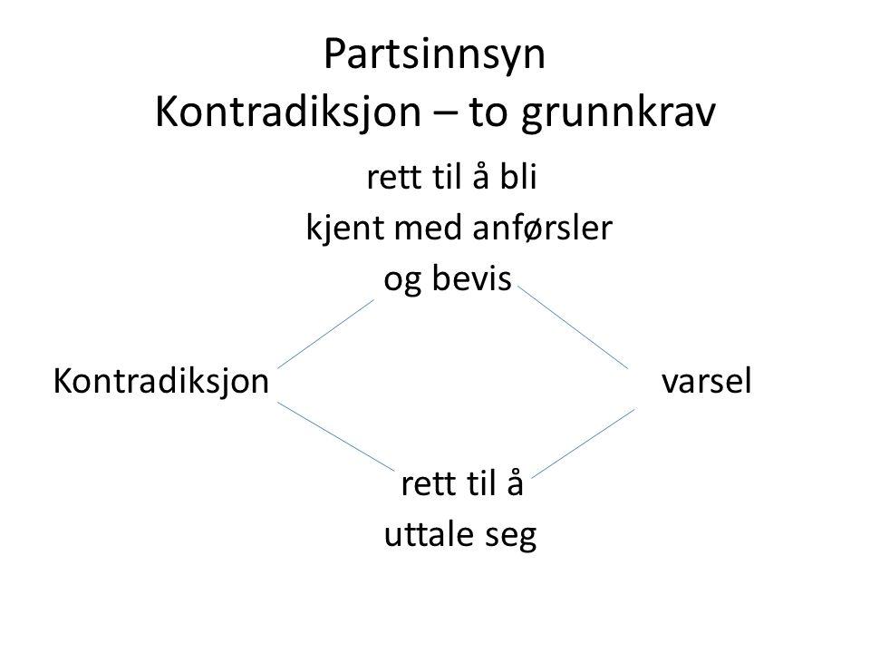 Partsinnsyn Kontradiksjon – to grunnkrav rett til å bli kjent med anførsler og bevis Kontradiksjonvarsel rett til å uttale seg
