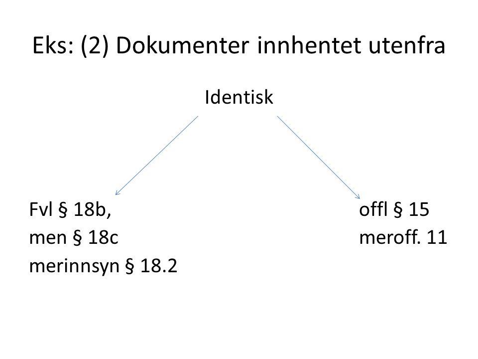 Eks: (2) Dokumenter innhentet utenfra Identisk Fvl § 18b, offl § 15 men § 18c meroff. 11 merinnsyn § 18.2