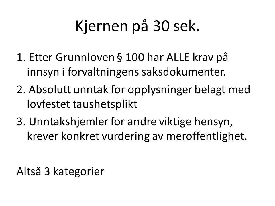 Kjernen på 30 sek. 1. Etter Grunnloven § 100 har ALLE krav på innsyn i forvaltningens saksdokumenter. 2. Absolutt unntak for opplysninger belagt med l