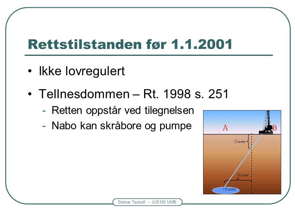 Steinar Taubøll - JUS100 UMB Rettstilstanden før 1.1.2001 Ikke lovregulert Tellnesdommen – Rt. 1998 s. 251 -Retten oppstår ved tilegnelsen -Nabo kan s