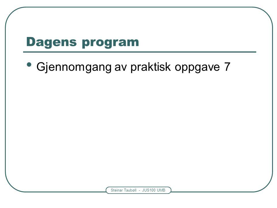 Steinar Taubøll - JUS100 UMB Dagens program Gjennomgang av praktisk oppgave 7